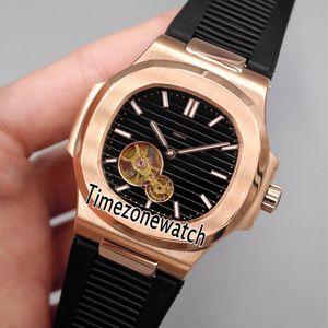 Yeni Nautilus 5712 Gül Altın Siyah Doku Tourbillon Otomatik Mens Watch Siyah Kauçuk Spor Saatler Yüksek Kalite Ucuz Timezonewatch E20d4