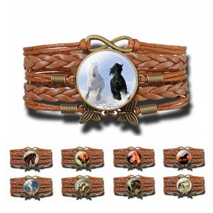 Horse Bracelet Retro Brown Wax Rope Bracelet for Women Horse Picture Glass Cabochon Infinity Bracelet Horse Jewelry Dropshipping