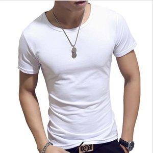 Лето Хлопок Casual V шеи / O образным вырезом с коротким рукавом Футболка Мужчины Фитнес Streetwear черный / белый дышащий Tshirt Blank