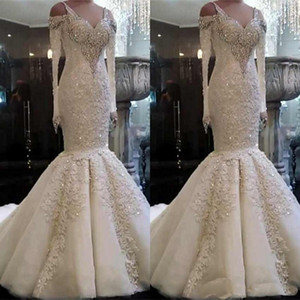2020 Plus Size Mermaid Wedding Dresses Sweetheart Neck Lace Appliques Sweep Train Bridal Gowns Custom Made