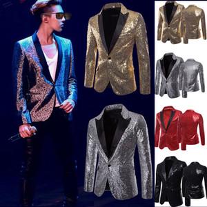 Ouro brilhante Lantejoula Glitter embelezado Blazer Jacket Men Nightclub Prom Suit Blazer homens do traje Homme Stage roupas para cantores