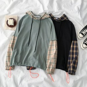 Spring Autumn Women Patchwork Sweatshirts Korean Harajuku Hooded Drawstring Fake Two Pieces Plaid Hoodies Casual Loose Pullovers