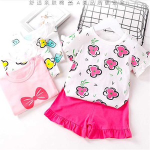 Cartoon Baby Clothes Suit Casual Fashion Cotton Newborn Infant Toddler Girls Clothes Baby T-shirt Sets 2pcs Clothing