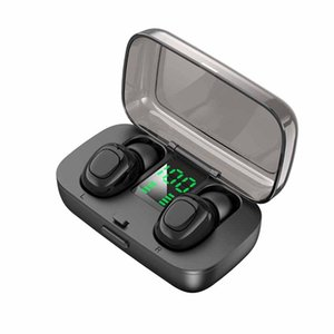 Беспроводные наушники Bluetooth V5. 0 мини-портативные наушники с сенсорным управлением наушники-вкладыши гарнитура электрическое количество со светодиодным цифровым дисплеем 5 цветов