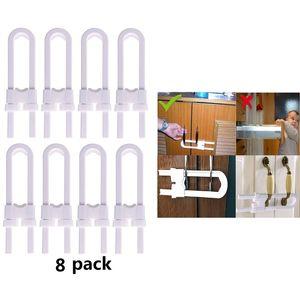 8Pcs Set U-Shaped Lock Child Safety Cabinet Latches Kid Baby Closet Kitchen Door