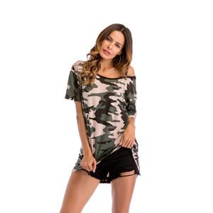 2019 nueva camiseta de mujer Camuflaje fuera del hombro larga camiseta de manga corta Camiseta suelta de gran tamaño para mujer de moda
