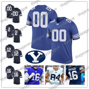 BYU Cougars 2019 Personnalisé N'importe quel Numéro Cousu Blanc Bleu Marine # 2 Matt Hadley 16 Sione Takitaki 12 Tanner Mangum Maillot de Football NCAA