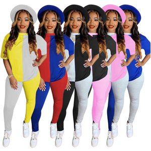 Real Picture Contrast Colors Patchwork Fashion Outfits Women Top and Pants with Half Sleeves Skinny Sets for Sports Home Streetwear 2020