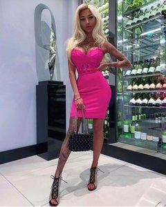 Simly Tara 2020 Yaz Bandaj Elbise Kadınlar vestidos Seksi V Yaka Dantel BODYCON Kulübü Elbise Şık Ünlü Partisi