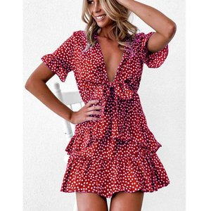 2020 Women Polka Dot Boho Ruffle Mini Dress Knot V-Neck Party Summer Beach Holiday Dresses Women Vestidos Black Green Red