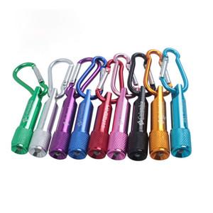 Colorido Mini LED Linterna Aleación de aluminio Antorcha Linternas con mosquetón Anillo Llaveros Llavero Regalos DHL gratis