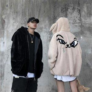 Cor orelhas de coelho Emoji Bordados solto Manga comprida com capuz Casacos Moda Casal Coats Plush Mens Designer Casacos de inverno Sólidos