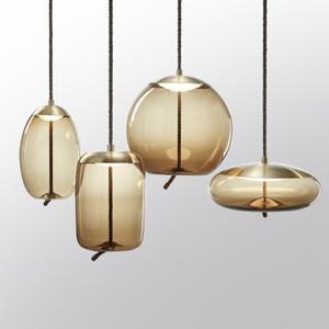 Criativa Pingente de vidro ilumina Combinação Retro Dinning Room Living Room Decoração Designer Quarto Lâmpada de cabeceira Pendant