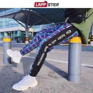 LAPPSTER Men Street Plaidhosen Jogger 2019 Mens Patchwork Blau Jogginghose Ankel Länge Baumwolle Hip Hop Track Pants Hosen