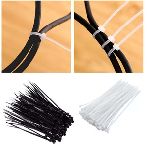 White Black Bag Clips Network Self-locking Nylon Plastic Cable Wire Zip Ties Cord Fasten Strapping Tape Packing Rope