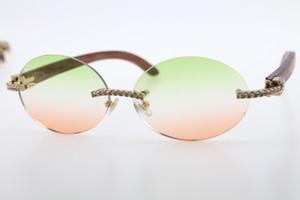 HOT WOOD 3524012 Gafas de sol sin llantas de solas Piedras grandes Vidrios Unisex Diseñador Diamante Gafas de madera con caja verde Lente Nueva marca de moda