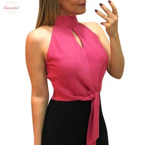 Blouse Women Pure Color Hollow Out Tank Top Sleeveless Halter Blouse Vest Blusas Mujer De Moda Womens Tops And Blouses