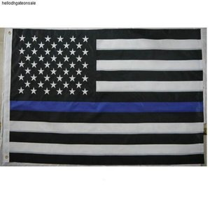 Flags 6Styles Blue 3x5Fts Line USA Thin Police Blue Line USA Flag Black White And Blue American Flag for Police Sea shipping GGA3465