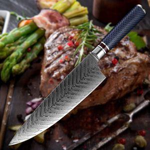 Couteau de chef Damas en acier 8,5 pouces professionnel japonais Couteau de cuisine de Sharp Gyutou Kiritsuke Utility résine Honeycomb poignée de cuisson Outils