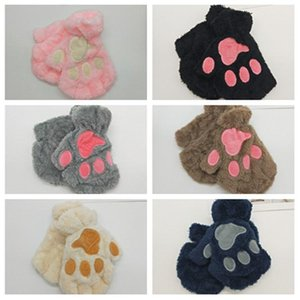 Winter men's and women's lovely cat claw gloves Plush Bear paw Half Finger Gloves cartoon lovely youth warm gloves T2C5170
