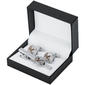 남성 넥타이 클립 커프스 링크 선물 상자와 스팀 펑크 기어 시계 메커니즘 비 기능성 프랑스어 커프스 남성 쥬얼리 셔츠 커프스 링크를 설정합니다