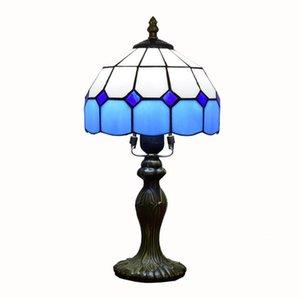 simples estudo quarto azul estrutura envidraçada lâmpada Tiffany sala de estar sala de jantar mediterrânea pequena lâmpada de mesa