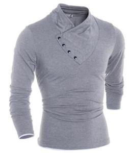 Mens Katı Renk Tshirts V yaka Düğmeleri Tasarımcı Bahar 19SS Erkek Uzun kollu üstler