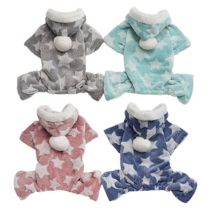 Chien Pyjama Claw coton imprimé vêtements pour animaux Petit chien Jumpsuit Pyjama à capuche Manteau pour Chats Chiens super chaud et doux Costume chiot