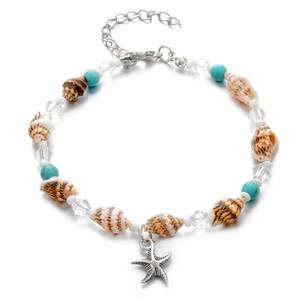 Conch estrellas de mar cuentas de piedra para el tobillo de la cadena boho de las mujeres de color pulsera de plata en la joyería de la pierna tobillo Beach