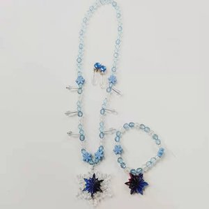Nueva Snow Queen Dress II para chicas copo de nieve colgantes de los collares + pendientes + copo de pulsera 3pcs / set Niños Cosplay Accesorios M922