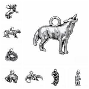 Antik Gümüş Renk Yapımı 10pcs / lot Etobur Hayvan Aslan Kurt Yılan Kutup Ayısı Kaplan Charms kolye DIY Metal Takı