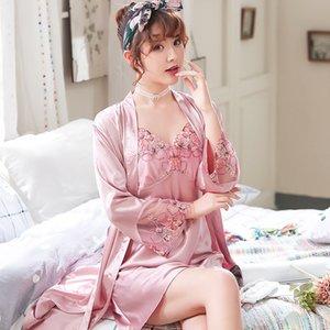 Designer Sexy Lingerie Pajamas Nightgowns Women Summer Floral Silk Sleepwear Sets Woman Kimono Gown Underwear Clothes Ladies Robes Bathrobes