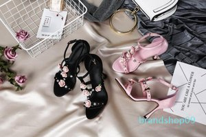 Hot Sale-Gladiator Sandals High Heeled Black Blue Pink Female Studded Wedding Fashion Sandals Shoes Summer Straps Flowers Shoes Mujers