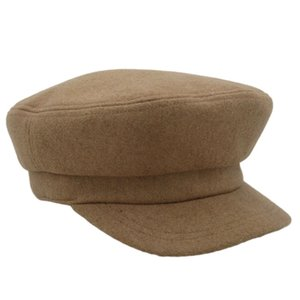 Newsboy Hats Student Cap Military Plain Solid Normcore Minimalism Available in Two Colors Black and Camel