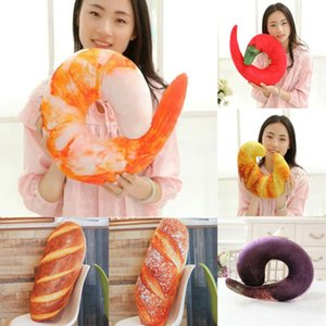 Portable U-shaped Neck Pillow Gift Travel 3D Shrimp Bread Pepper Eggplant Type Pillow Travel Home Office Decor Comfort