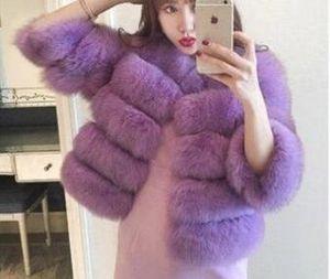 Moda-Womens chaleco de piel de cuero de lujo de abrigos de invierno casual color sólido femenino de la moda chaquetas mujer Longitud corta caliente Outwear