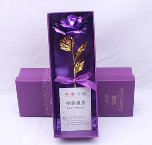 24k folha de ouro banhado Rose Artificial haste longa Presentes Flor criativas para presentes do dia das mães casamento amante Valentines Natal RRA2623