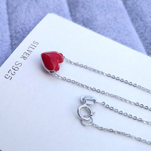 Sinya Girls Red Enamel Sterling Silver Heart Shaped Pendant charm Clavicle Necklace length 42cm For Women lover Valentine's Day