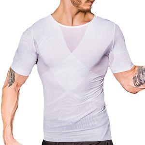 Gynecomastia Shapewear Man Body Shaper Compression T Shirt Manica corta che dimagrisce Top Fitness T-shirt Big Belly Controllo Vita Trainer Corsetto