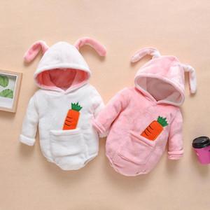 Lindo paño grueso y suave terciopelo infantil ropa de invierno de los bebés de los mamelucos calientan recién nacido del bebé recién nacido ropa de nieve Mono