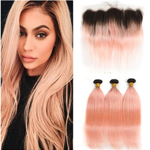 Ombre Rose Pink Human Hair 3Bundles with Frontal Straight #1B Pink Ombre Peruvian Hair with Lace Frontal 13x4 Ombre Rose Gold Weave Wefts
