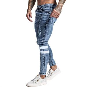 Gingtto Mens Jeans slim coupe slim jeans déchirés Jeans grande et longue stretch bleu pour les hommes en détresse taille élastique 32 jambe 30 Zm49 Y19061001