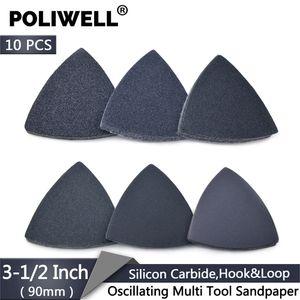 POLIWELL 10PCS 3-1 2 Inch Grit 60 80 100 1200 240 400 Sanding Sheet Silicon Carbide Triangular Flocking Sandpaper Wood Grinding
