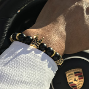 Mcllroy Micro Pave Black Cz Zirconia Gold King Crown Charm Bracelet Uomo Stone Bead Bracelet Valentine Mens Jewelry 2018 Fashion SH190727