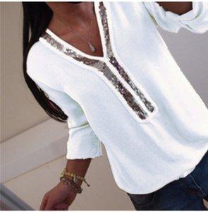 Sequins Kasetli Tasarımcı Kadınlar Tshirts Moda Doğal Renk şifon Tshirts Uzun Kollu V Yaka Tshirts Kadınlar Giyim