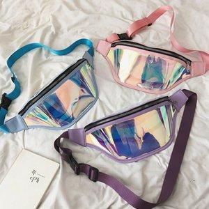 2019 Moda Cinto Bum Bag À Prova D 'Água Transparente Transparente Punk Holográfico Fanny Pack Laser Cintura Pacote para As Mulheres
