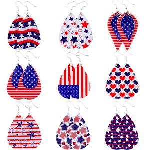 Mulheres Luxo Bohemian couro brincos artesanais americano Folha Bandeira Teardrop Ear Dangle gancho Ear Stud Jewelry