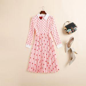 Vestito 2020 primavera-estate a maniche lunghe risvolto del collo di colore rosa / nero di modo con pannelli al ginocchio abiti da Runway lusso A052312A2