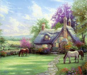 Presentes Arte da parede Hot óleo da paisagem Kinkade Thomas Pintura Reprodução giclée No escritório Canvas Modern Art Home Living Room Decor tms070