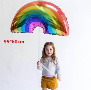 Large Rainbow Balloons Rainbow Bridge 95*63cm Birthday Large Inflatable Rainbow Foil Helium Air Balloon Party Decorations 200pcs